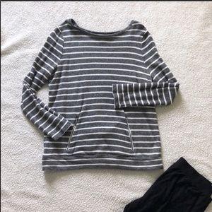 LOFT Gray Heather/White Striped Tunic Shirt